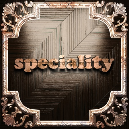 specialities: word with classic ornament made in 3D Stock Photo