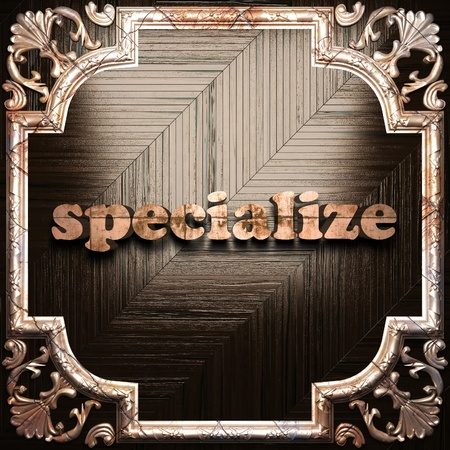 specialize: word with classic ornament made in 3D Stock Photo