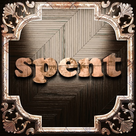 spent: word with classic ornament made in 3D Stock Photo