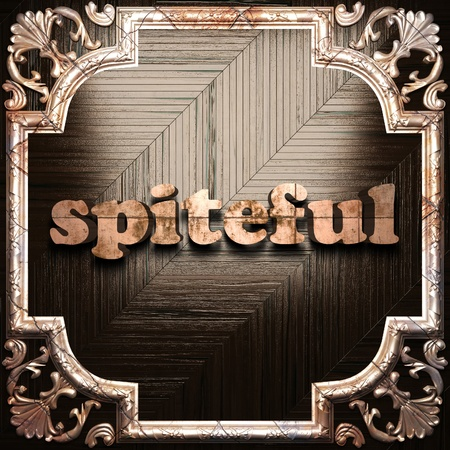 spiteful: word with classic ornament made in 3D Stock Photo