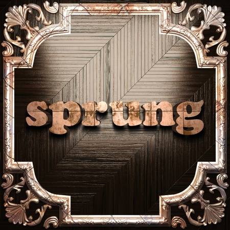 sprung: word with classic ornament made in 3D Stock Photo