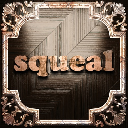 squeal: word with classic ornament made in 3D Stock Photo