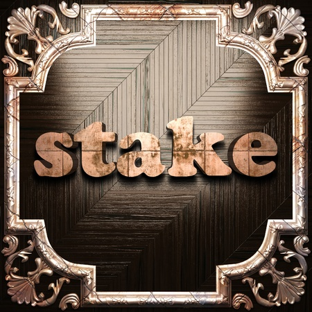 stake: word with classic ornament made in 3D Stock Photo