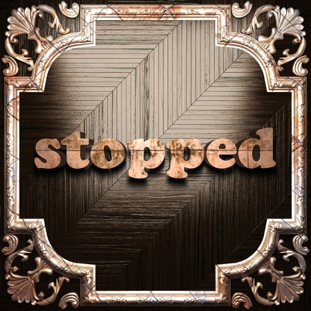 stopped: word with classic ornament made in 3D Stock Photo
