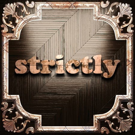 strictly: word with classic ornament made in 3D Stock Photo