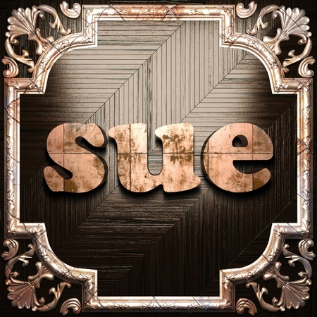 sue: word with classic ornament made in 3D Stock Photo