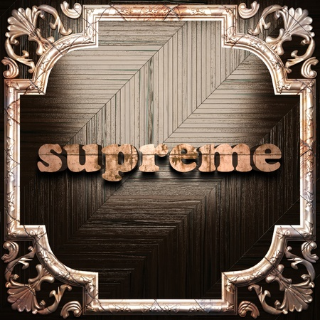 supreme: word with classic ornament made in 3D Stock Photo