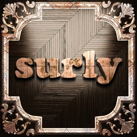 surly: word with classic ornament made in 3D Stock Photo