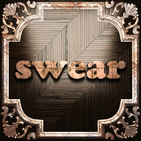 swear: word with classic ornament made in 3D Stock Photo
