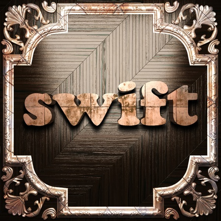 swift: word with classic ornament made in 3D Stock Photo