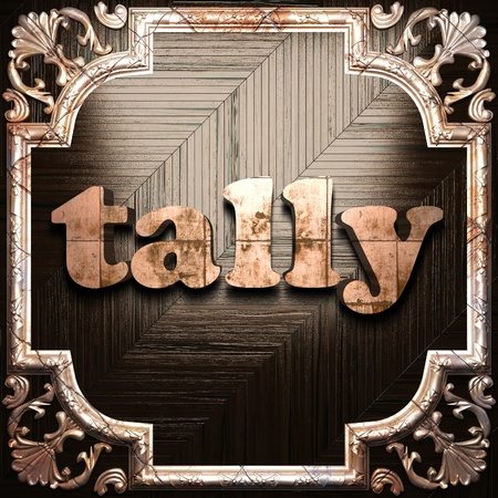 tally: word with classic ornament made in 3D Stock Photo