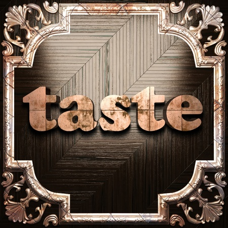 contemporary taste: word with classic ornament made in 3D Stock Photo