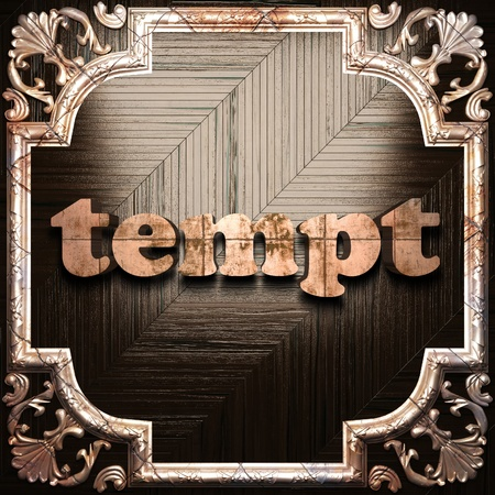 tempt: word with classic ornament made in 3D Stock Photo