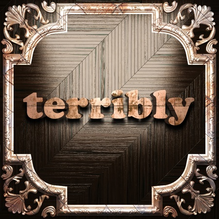 terribly: word with classic ornament made in 3D Stock Photo