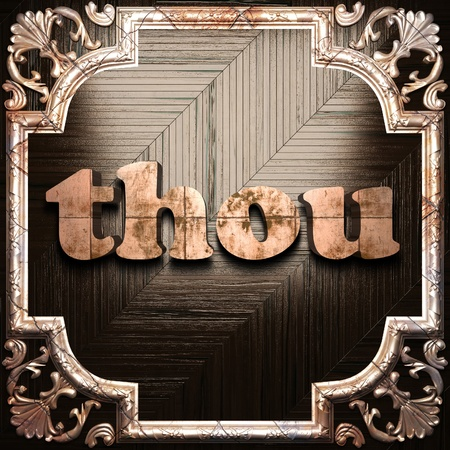 thou: word with classic ornament made in 3D Stock Photo