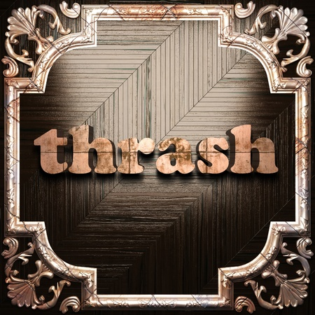 thrash: word with classic ornament made in 3D Stock Photo