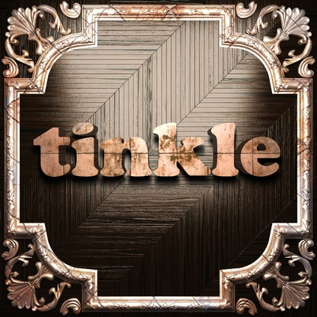 tinkle: word with classic ornament made in 3D Stock Photo