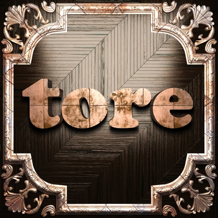 tore: word with classic ornament made in 3D Stock Photo