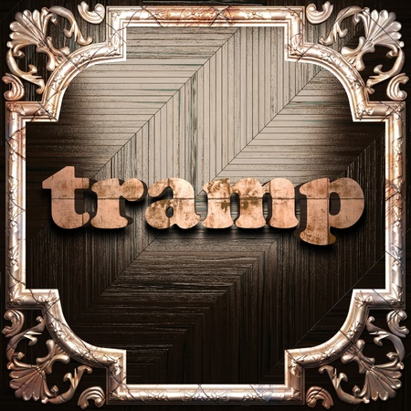 tramp: word with classic ornament made in 3D Stock Photo