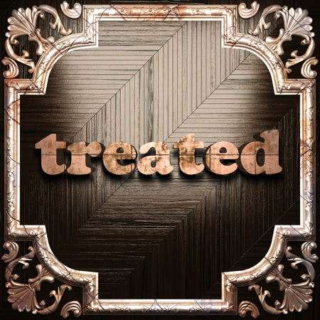 treated board: word with classic ornament made in 3D Stock Photo