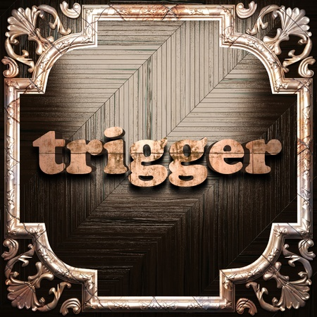trigger: word with classic ornament made in 3D Stock Photo
