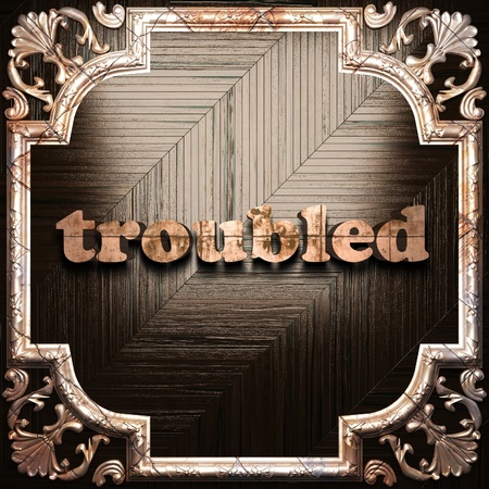 is troubled: word with classic ornament made in 3D Stock Photo