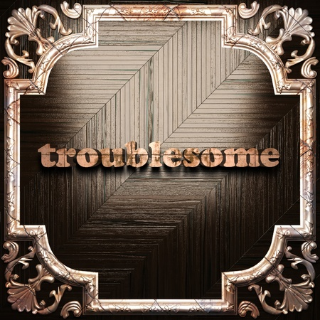 troublesome: word with classic ornament made in 3D Stock Photo