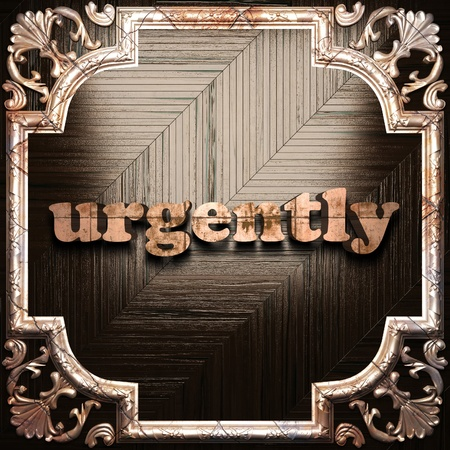 urgently: word with classic ornament made in 3D Stock Photo