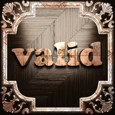 valid: word with classic ornament made in 3D Stock Photo
