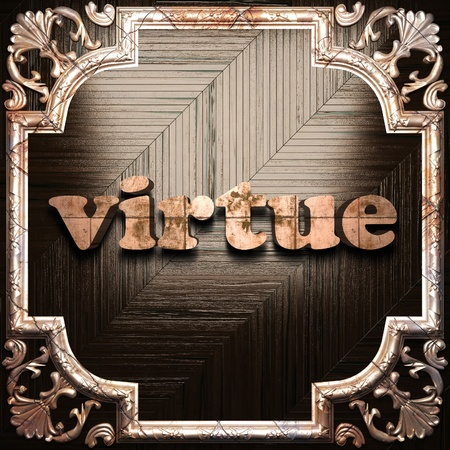 virtue: word with classic ornament made in 3D Stock Photo