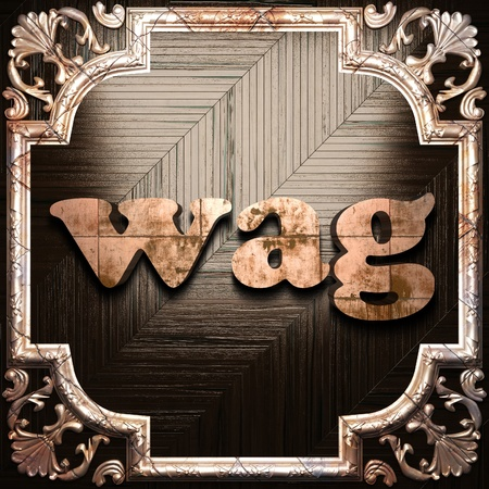 wag: word with classic ornament made in 3D Stock Photo