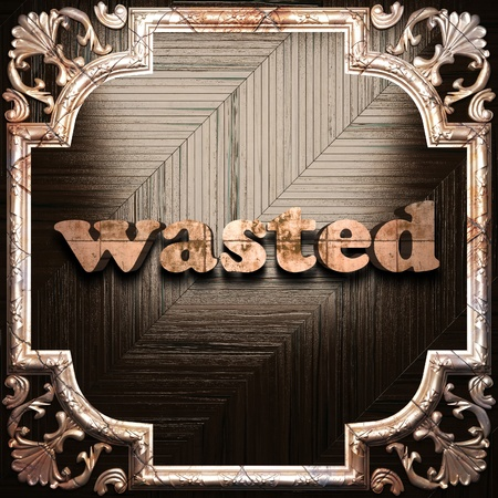 wasted: word with classic ornament made in 3D Stock Photo