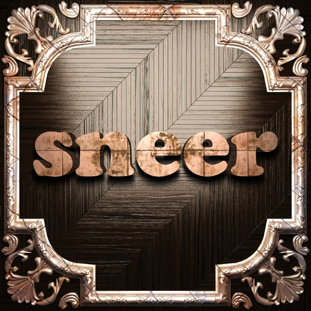 sneer: word with classic ornament made in 3D Stock Photo