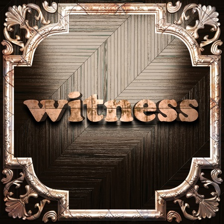 witness: word with classic ornament made in 3D Stock Photo