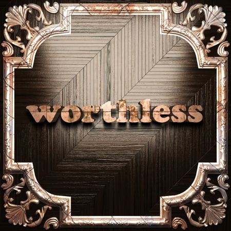 worthless: word with classic ornament made in 3D Stock Photo