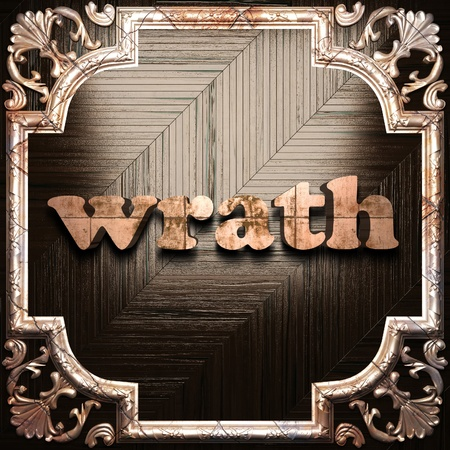 wrath: word with classic ornament made in 3D Stock Photo