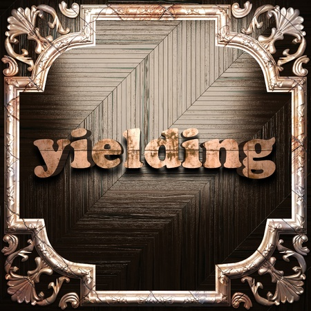 yielding: word with classic ornament made in 3D Stock Photo