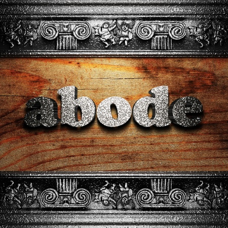 abode: iron word on wood made in 3D Stock Photo
