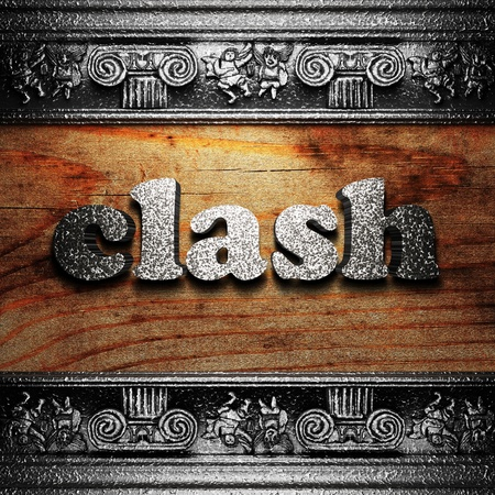clash: iron word on wood made in 3D Stock Photo
