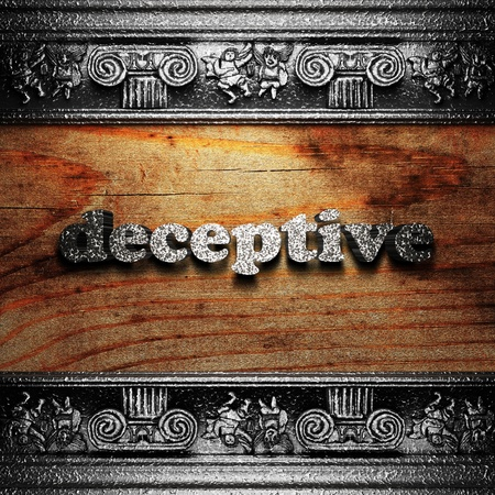 deceptive: iron word on wood made in 3D Stock Photo