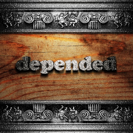 depended: iron word on wood made in 3D Stock Photo
