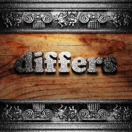 differs: iron word on wood made in 3D Stock Photo