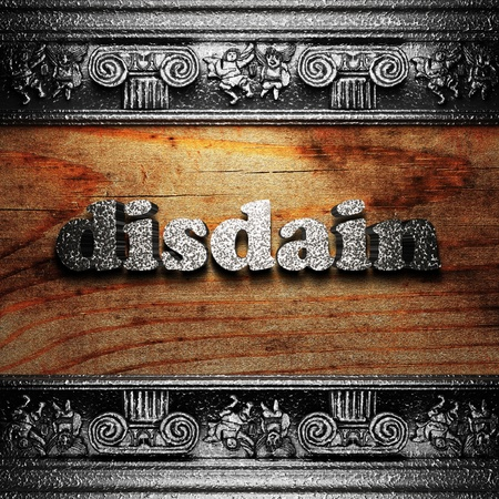 disdain: iron word on wood made in 3D Stock Photo