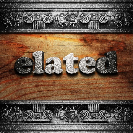 elated: iron word on wood made in 3D Stock Photo