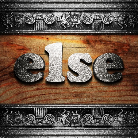 else: iron word on wood made in 3D Stock Photo