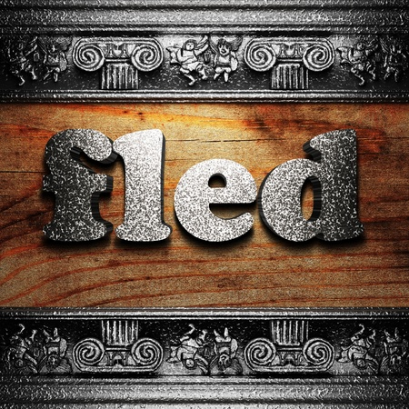 fled: iron word on wood made in 3D Stock Photo