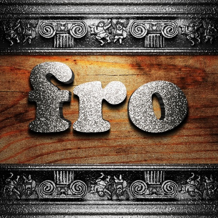 fro: iron word on wood made in 3D Stock Photo