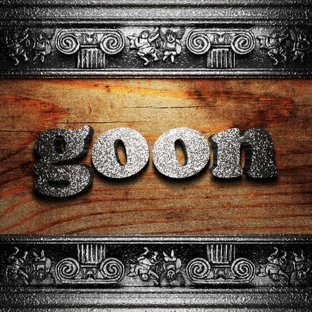 goon: iron word on wood made in 3D Stock Photo