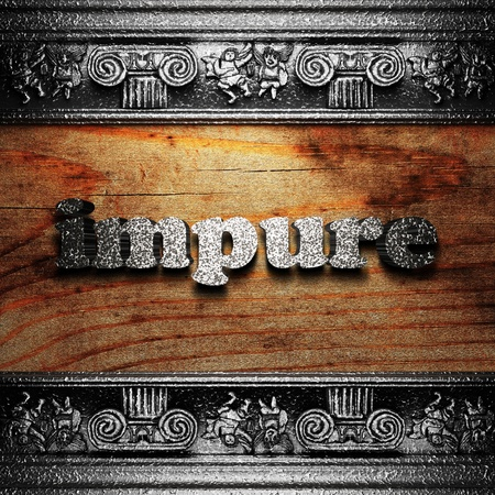 impure: iron word on wood made in 3D Stock Photo
