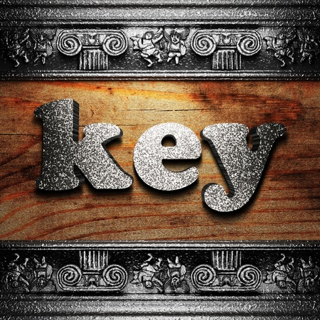 key words  art: iron word on wood made in 3D Stock Photo